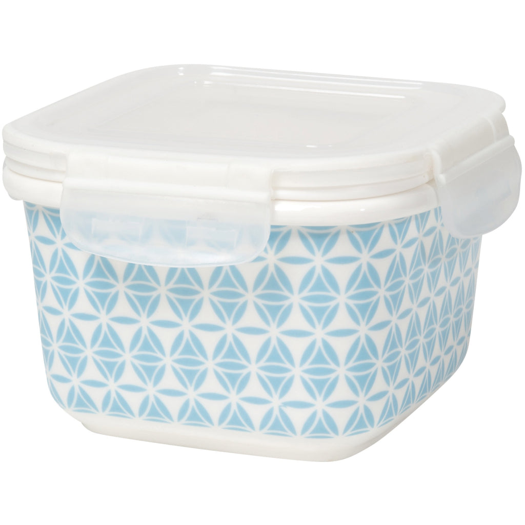 Blue Geo Snack n Serve Container 5 Inch
