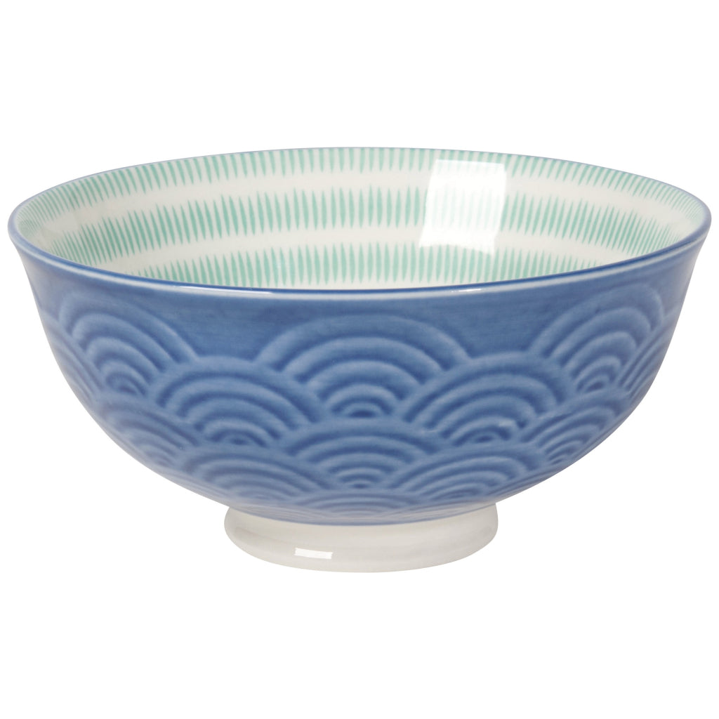 Blue Waves Embossed Bowl 5 Inch