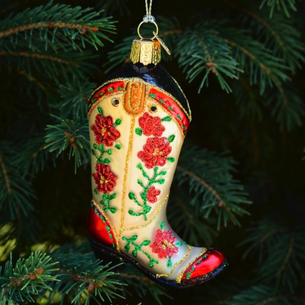 Christmas Cowgirl Boot Ornament
