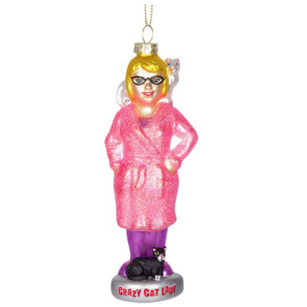 Crazy Cat Lady Glass Ornament