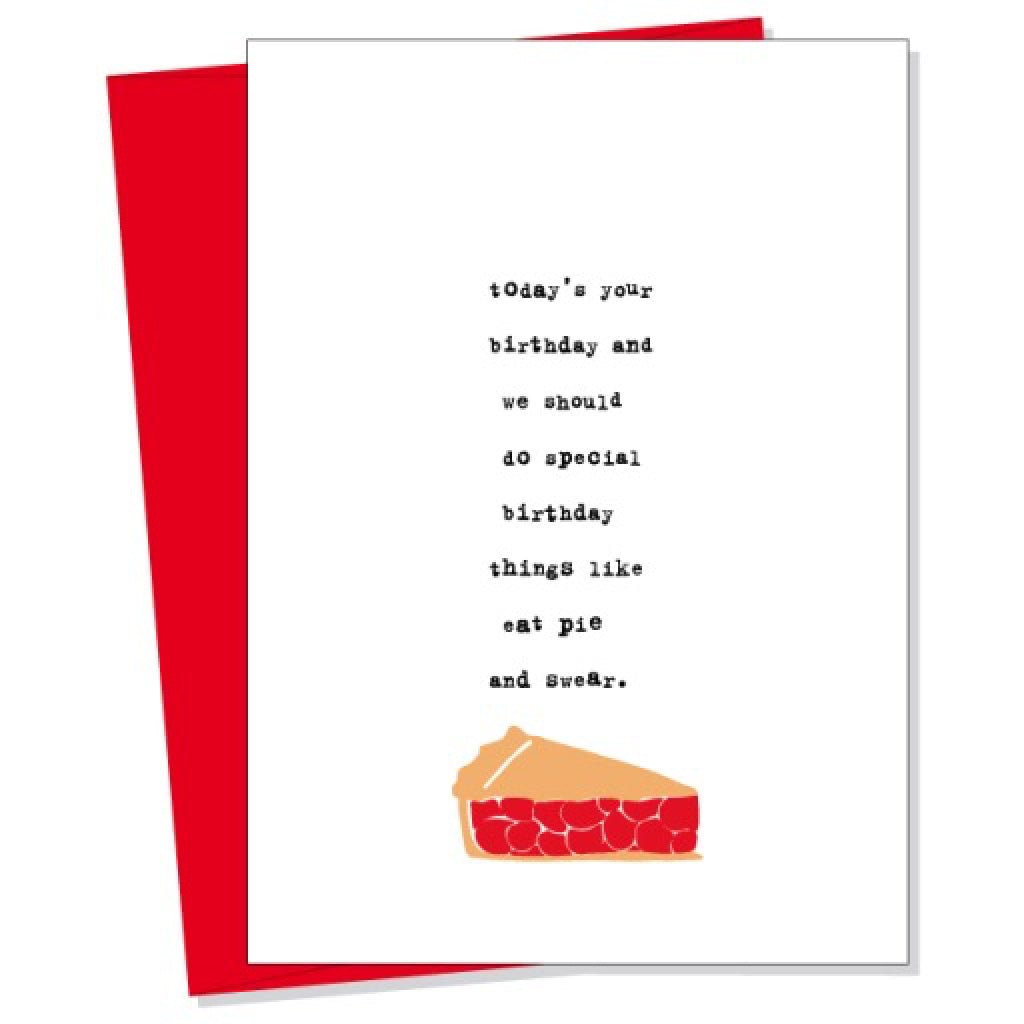 Eat Pie And Swear Card By Uncooked Outer Layer