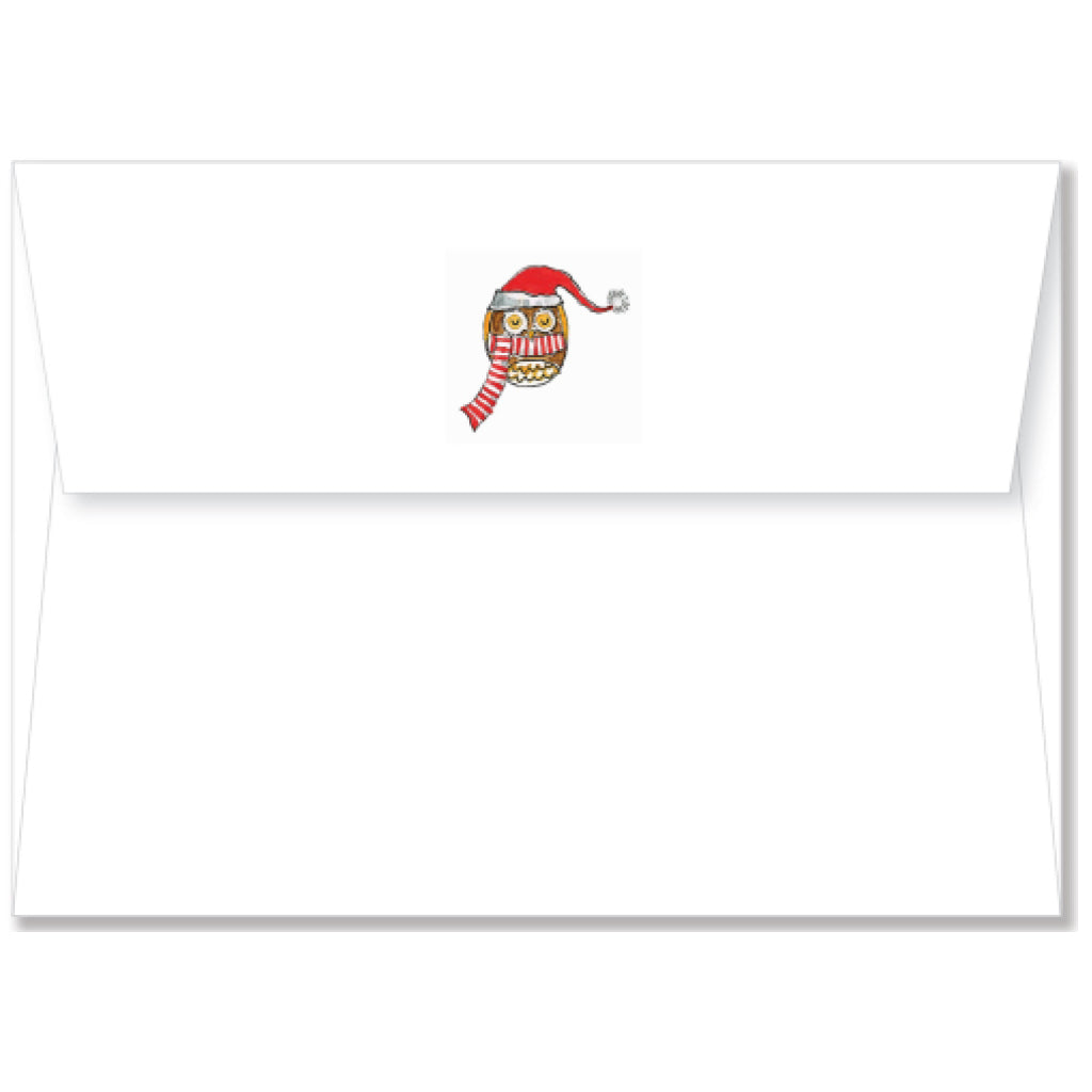 Festive Owl Boxed Holiday Cards envelope