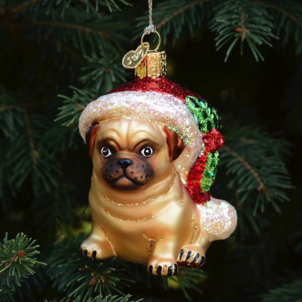 Holly Hat Pug Ornament