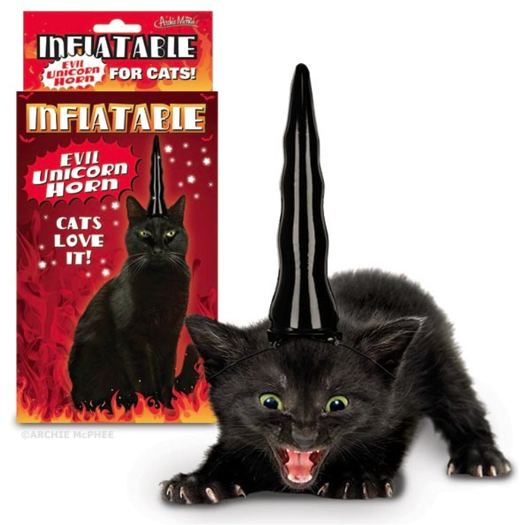 Inflatable Evil Unicorn Horn for Cats package