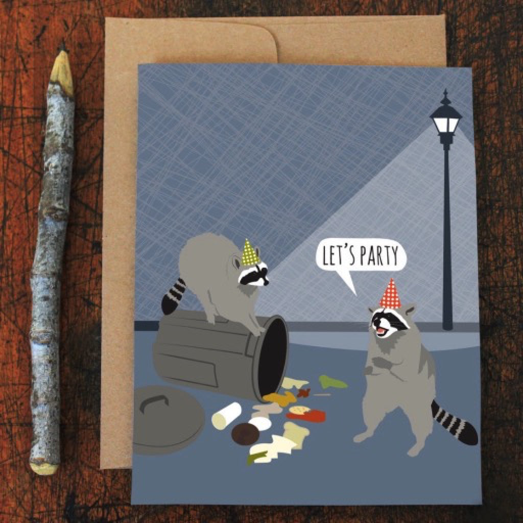 Lets Party Raccoon Birthday Card