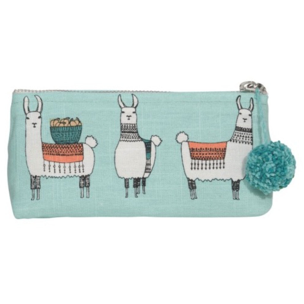 Llamarama Linen Cosmetic Bag Pencil