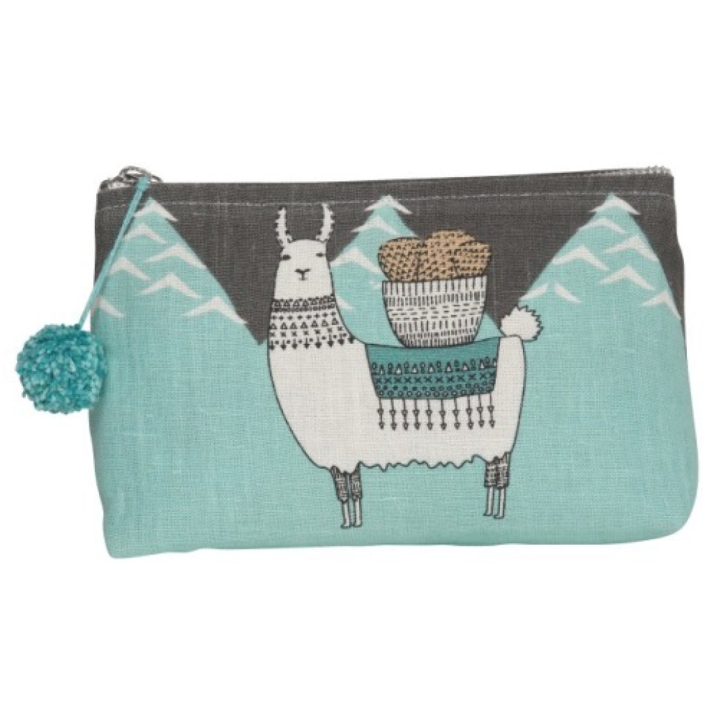 Llamarama Linen Cosmetic Bag Small back