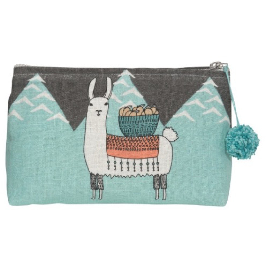Llamarama Linen Cosmetic Bag Small