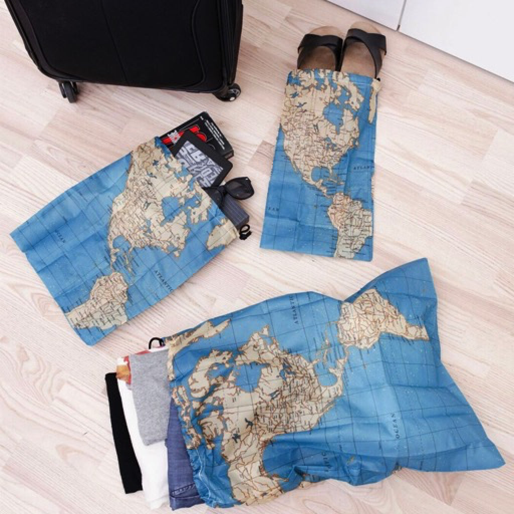 Maps travel bags set of 4 by kikkerland outer layer maps travel bags set of 4 gumiabroncs Choice Image