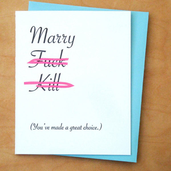 Marry Fuck Kill Card