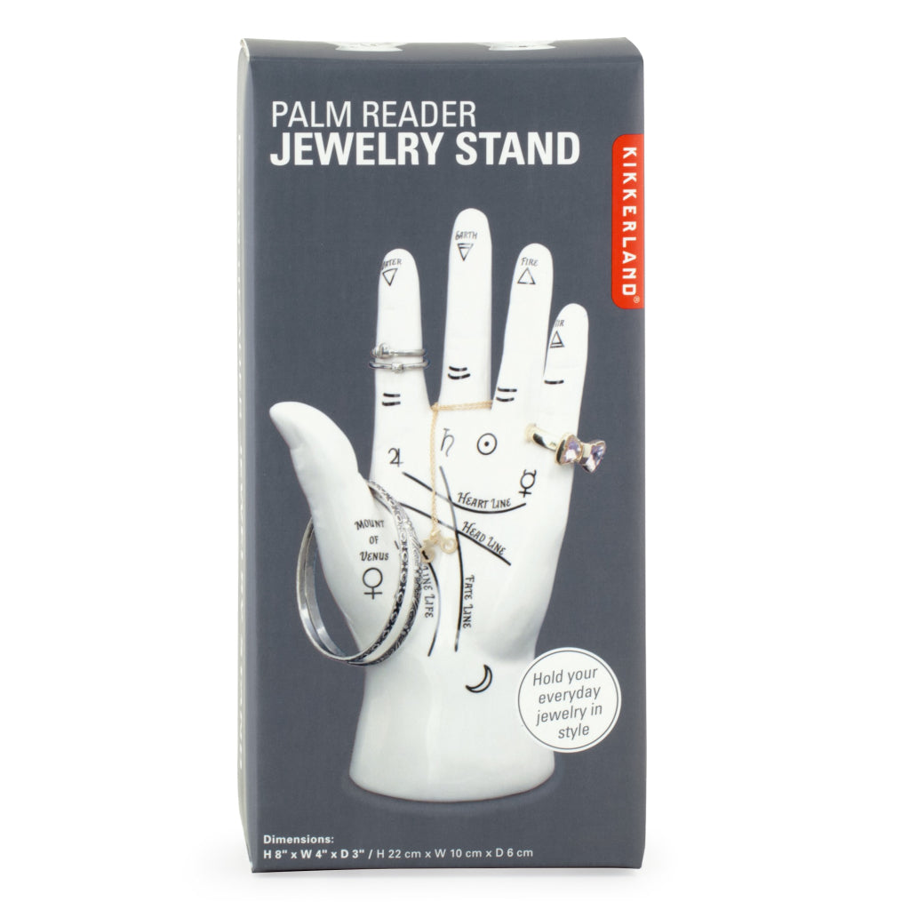 Palm Reader Jewelry Stand package