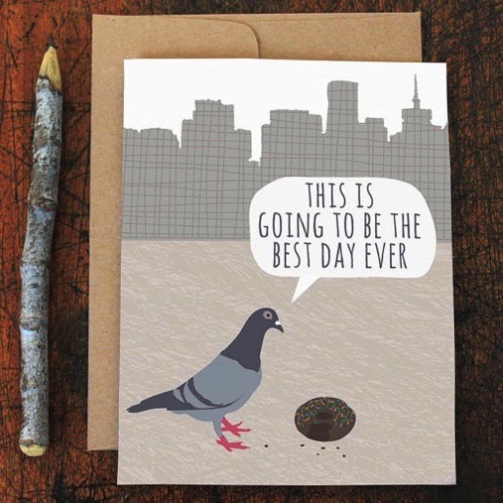 Pigeon With Donut Card