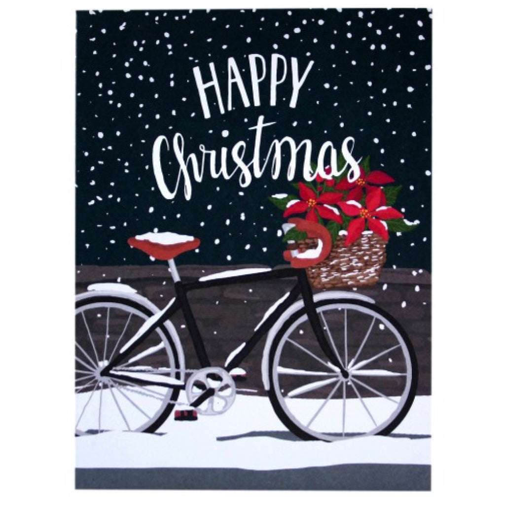 Poinsettia Bicycle Christmas Card