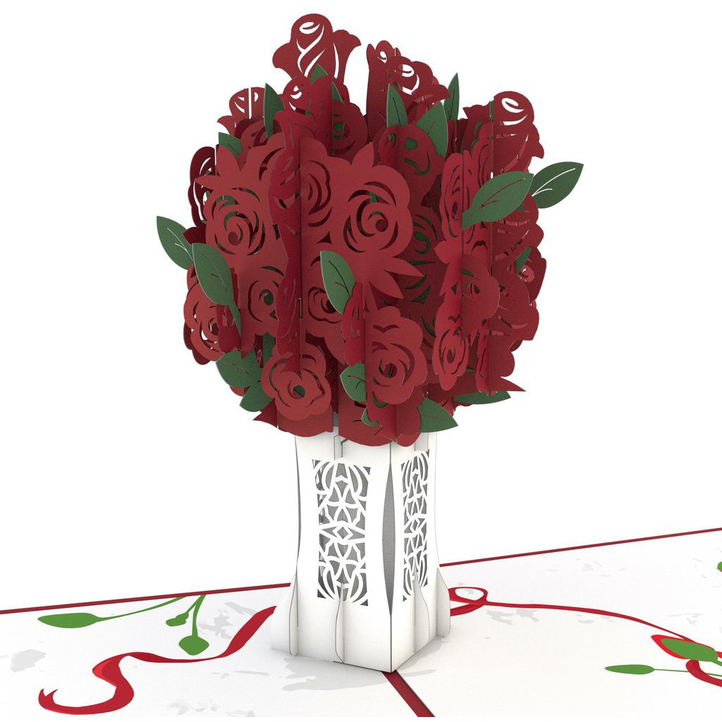 Red Rose Arrangement 3D Pop Up Card