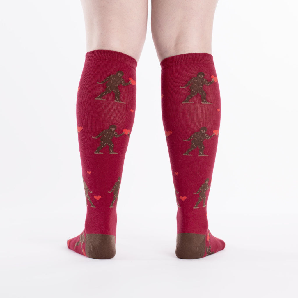 Sasquatch Valentine Knee Socks back