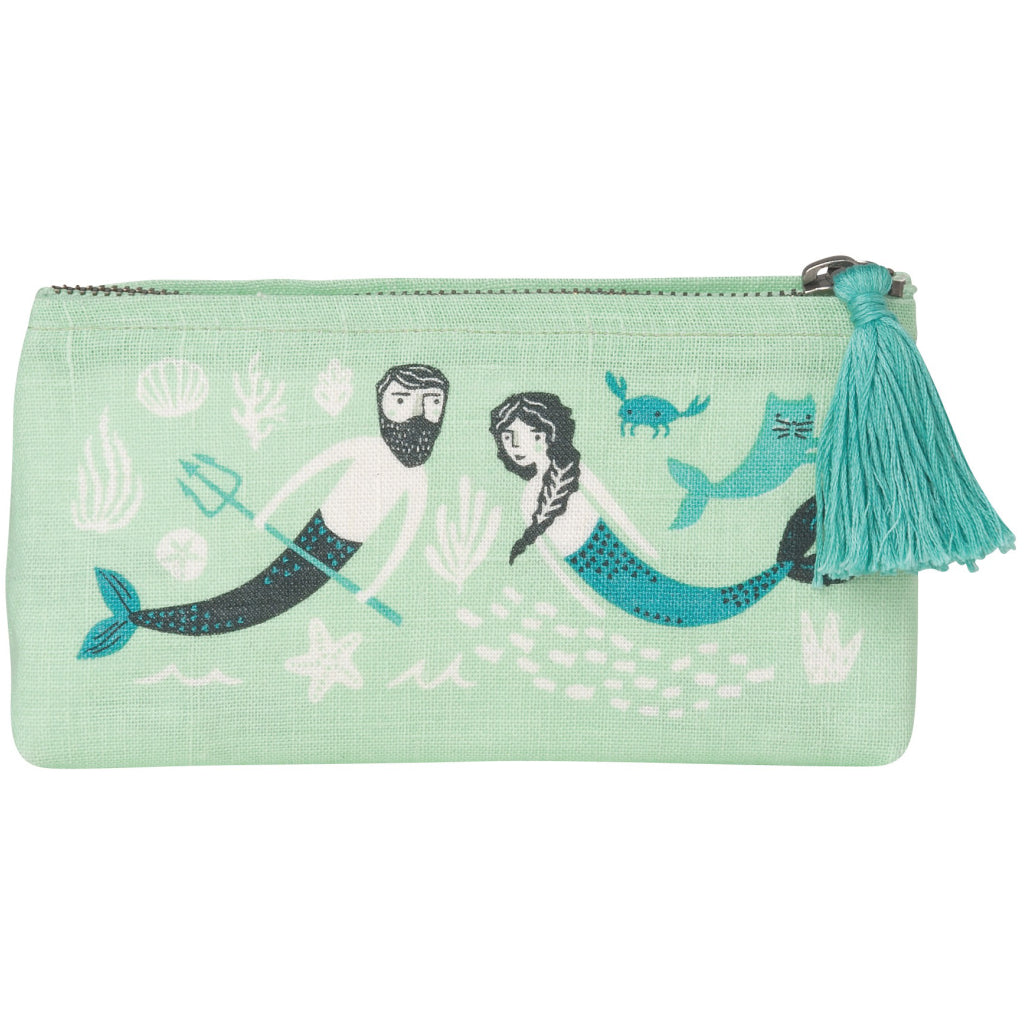 Sea Spell Linen Cosmetic Bag Pencil
