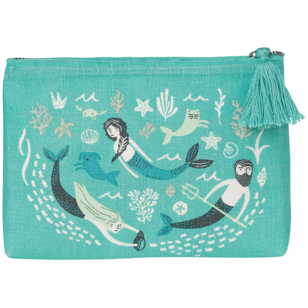 Sea Spell Linen Cosmetic Bag Small