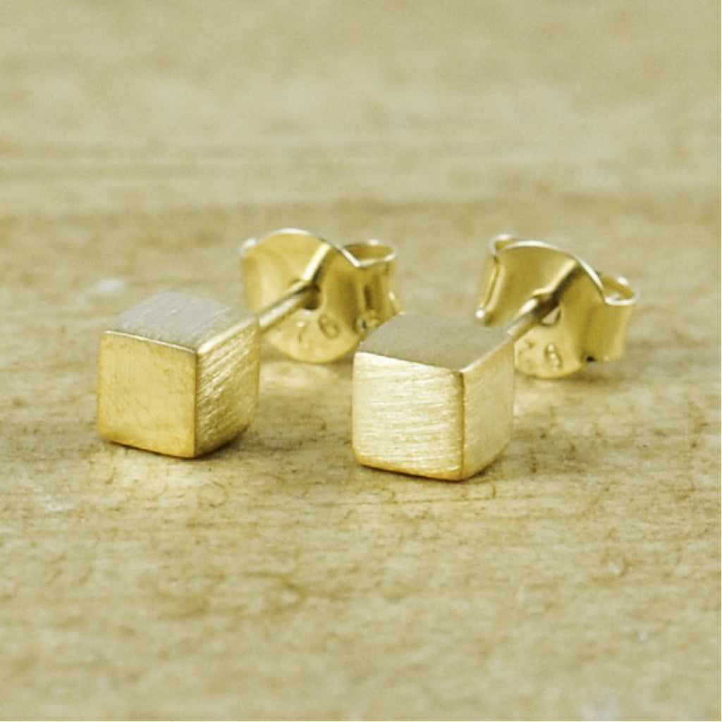 Solid Cube Studs Brushed 14K Gold Vermeil