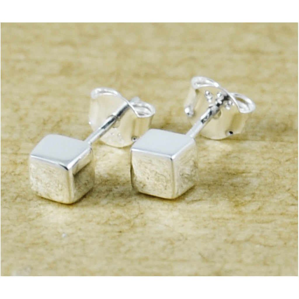 Solid Cube Studs Polished