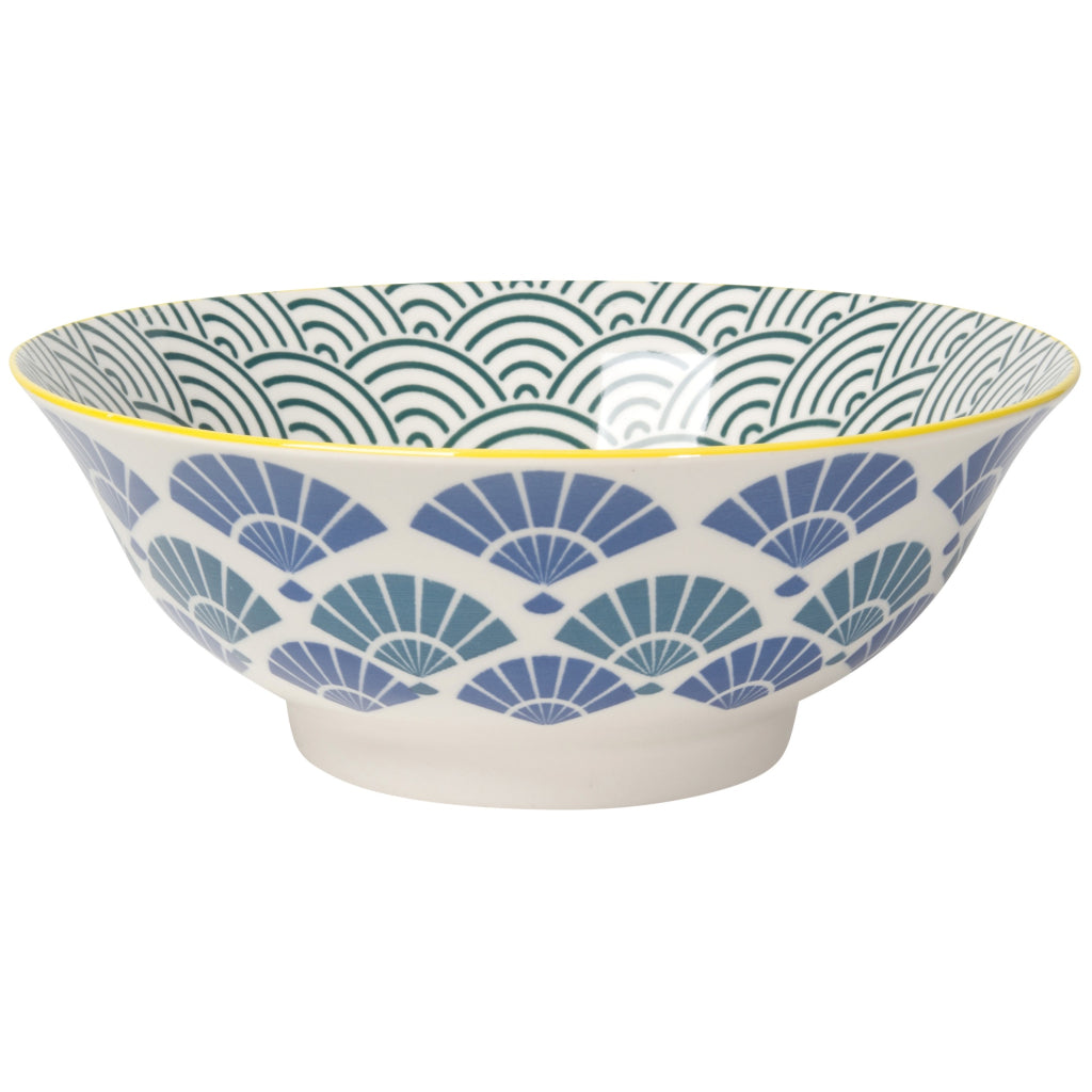 Stamped Bowl Blue Fans/Waves 8 Inch