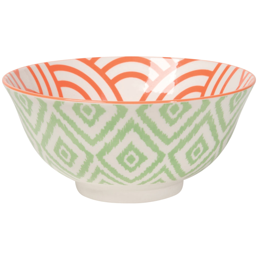 Stamped Bowl Jade Ikat 6 Inch