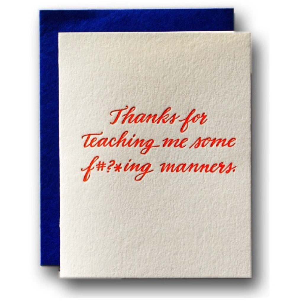 Teaching Me Manners Card