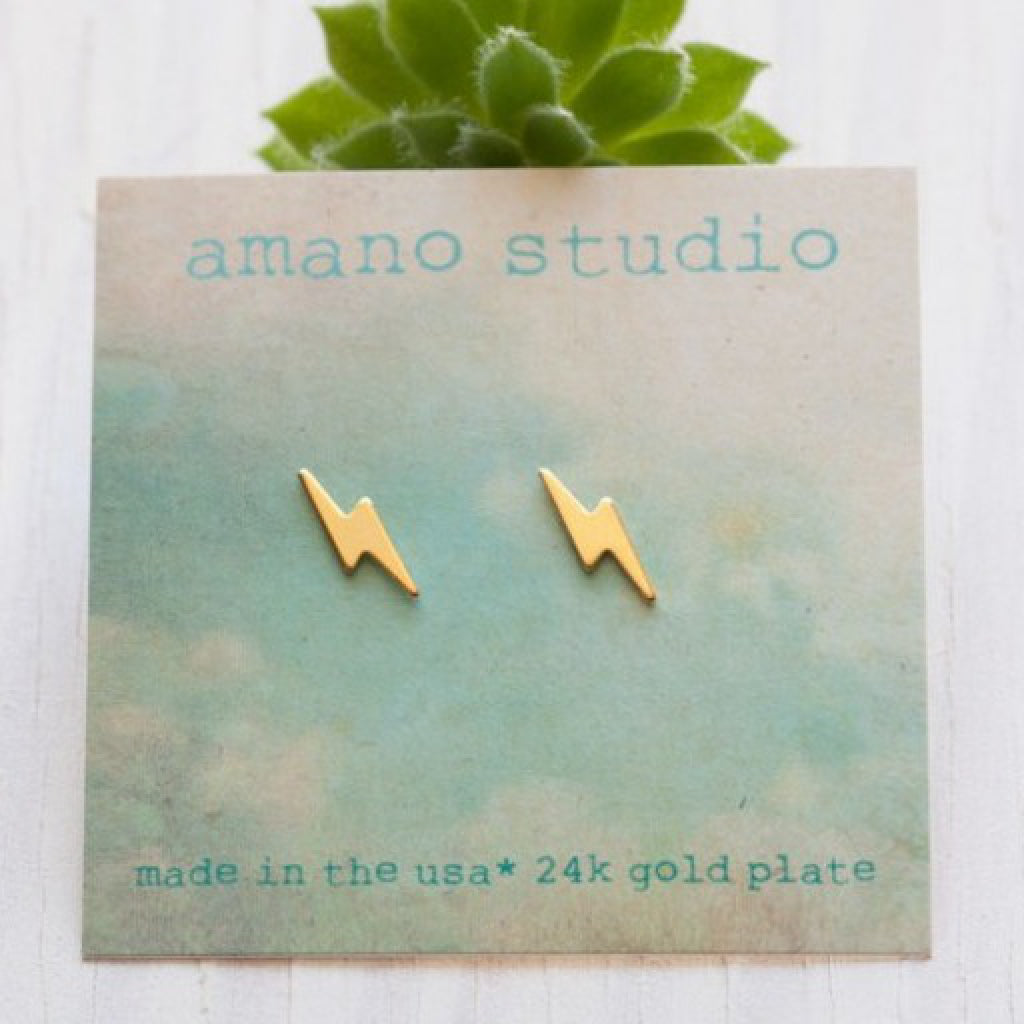 Tiny Lightning Bolt Studs Gold package