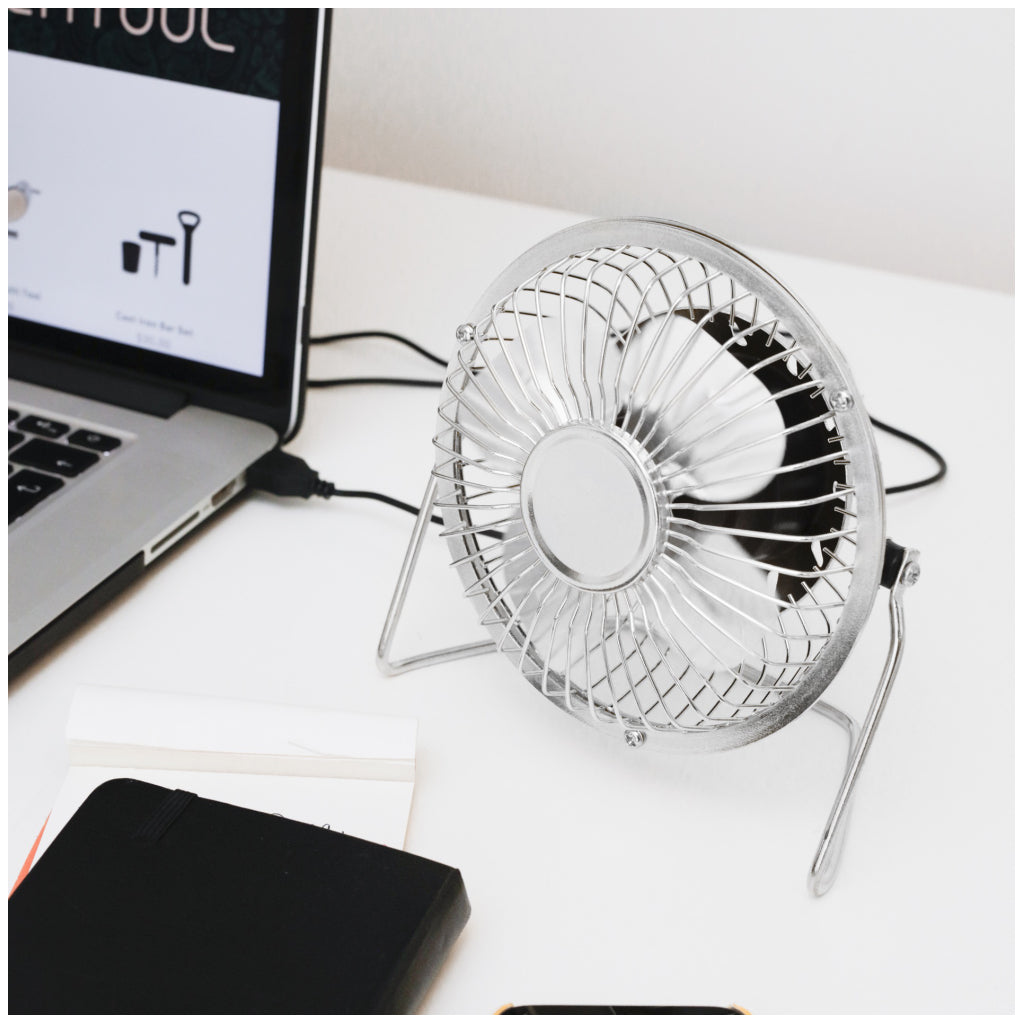 USB Metal Desk Fan Silver action