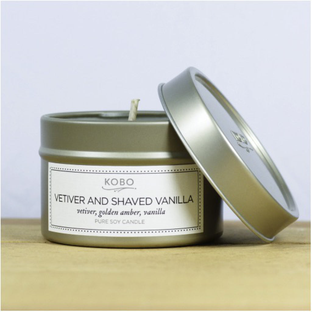 Vetiver & Shaved Vanilla Travel Candle front