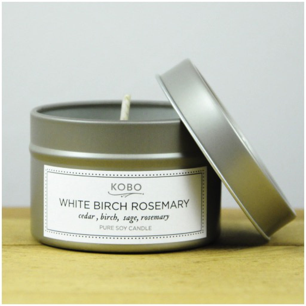 White Birch Rosemary Travel Candle front