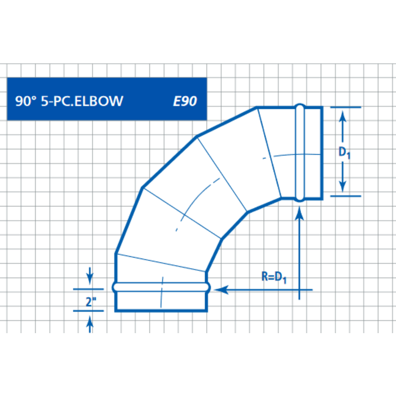 Single Wall, Round 90° 5-PC Pressed Elbow (E90T)