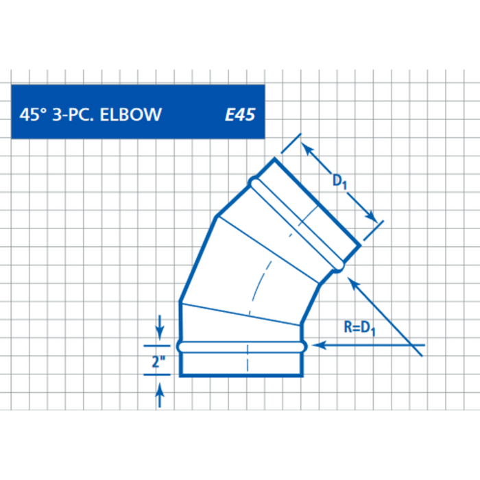Single Wall, Round 45° 3PC Pressed Elbow (E45T)
