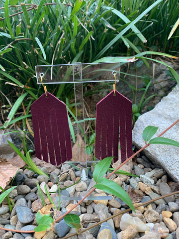 Wilds Garnet Leather Earrings