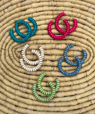 Wood Beaded Hoops