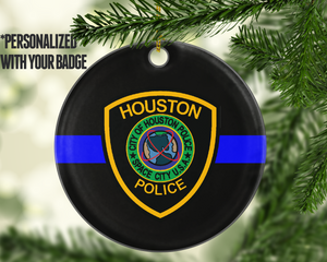 Personalized Badge Thin Blue Line TBL Police - Shatterproof Acrylic Ornament  - - Endlessly Trendy Boutique