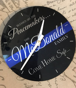 Come Home Safe - Blessed are the Peacemakers - Personalized Thin Blue Line Police Clock with Last Name - - Endlessly Trendy Boutique
