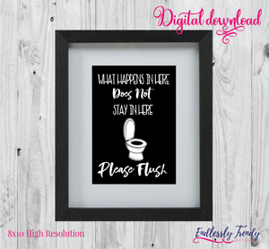 "8"" x 10"" Please Flush - Bathroom Humor Quote - Digital Download - Printable Digital File - - Endlessly Trendy Boutique"