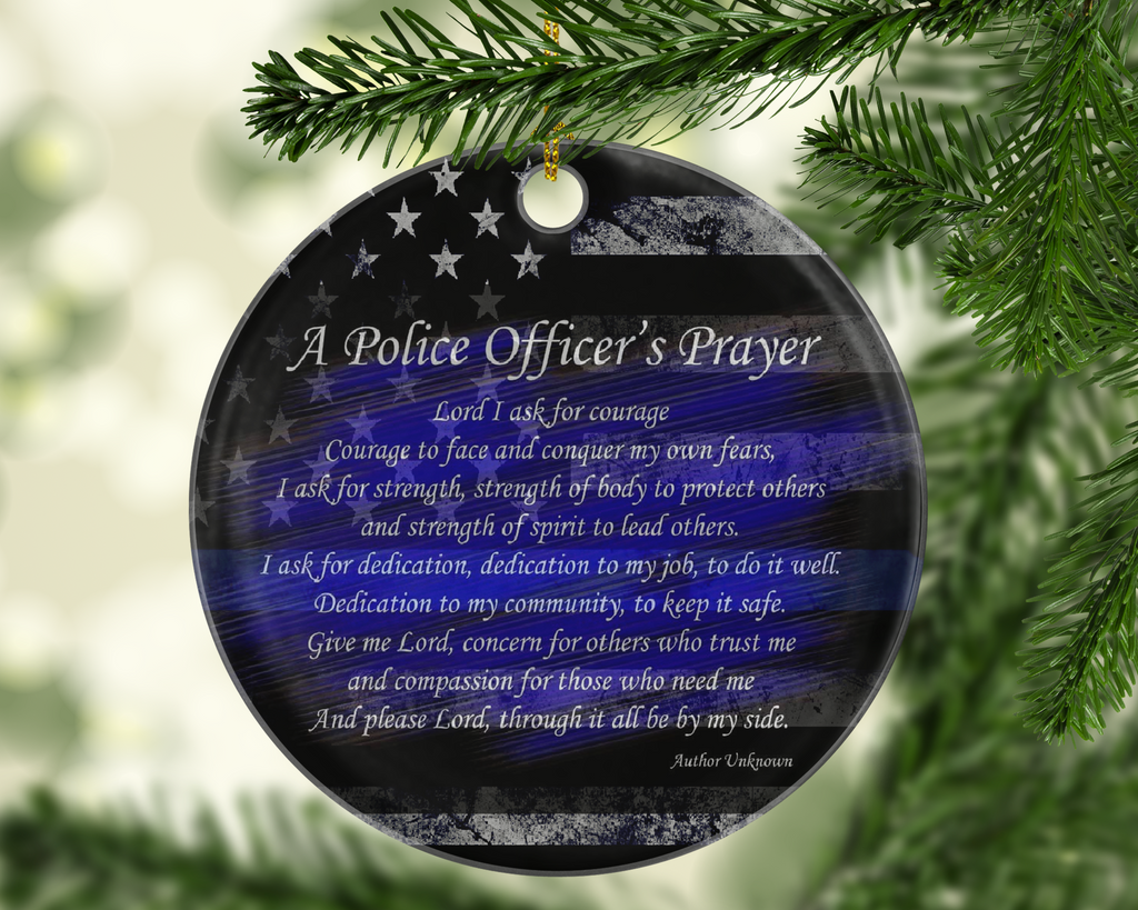 Police Officers Prayer Ornament - Shatterproof Acrylic Ornament  - - Endlessly Trendy Boutique
