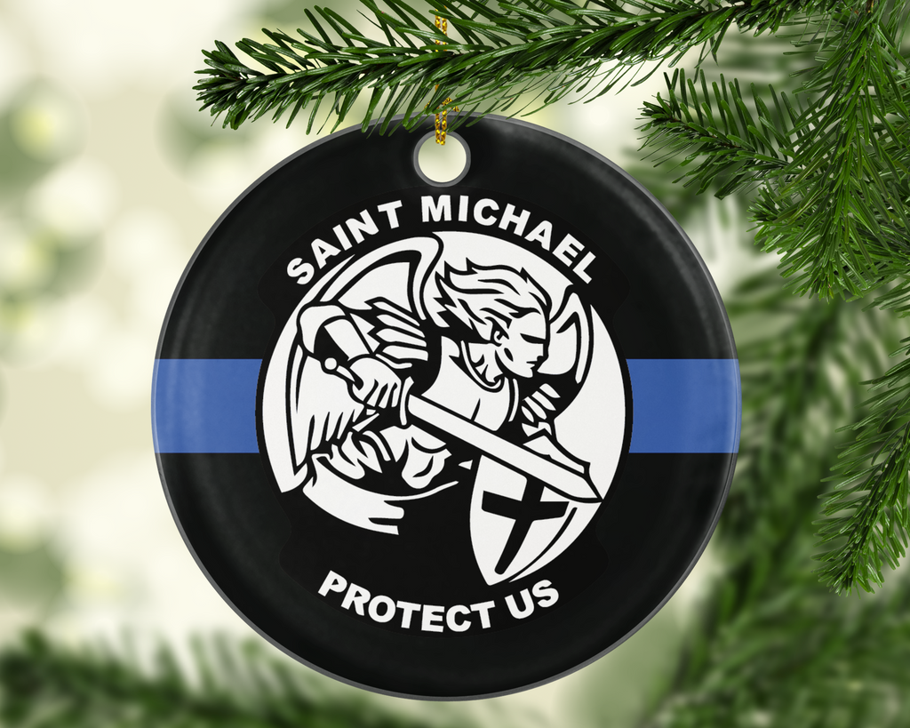 St. Michael Protect Us Thin Blue Line TBL Police - Shatterproof Acrylic Ornament  - - Endlessly Trendy Boutique