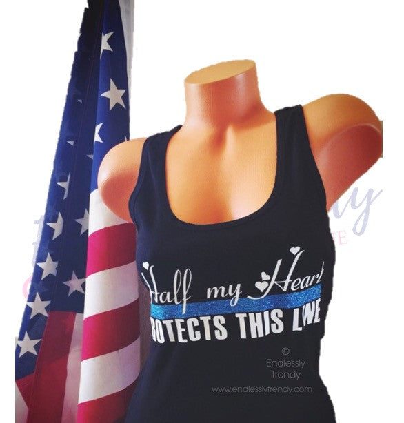 Half my Heart Protects this Line Police Wife Shirt - - Endlessly Trendy Boutique