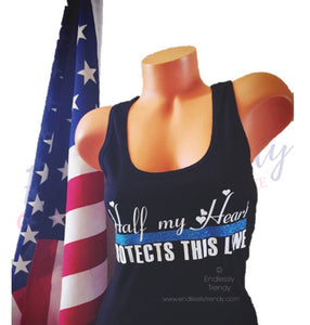 Half my Heart Protects this Line Police Wife Shirt - Endlessly Trendy Boutique