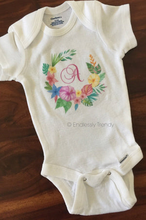 Custom Onesie® - Baby Initial With Hawaiian Floral Wreath Circle* - Endlessly Trendy Boutique