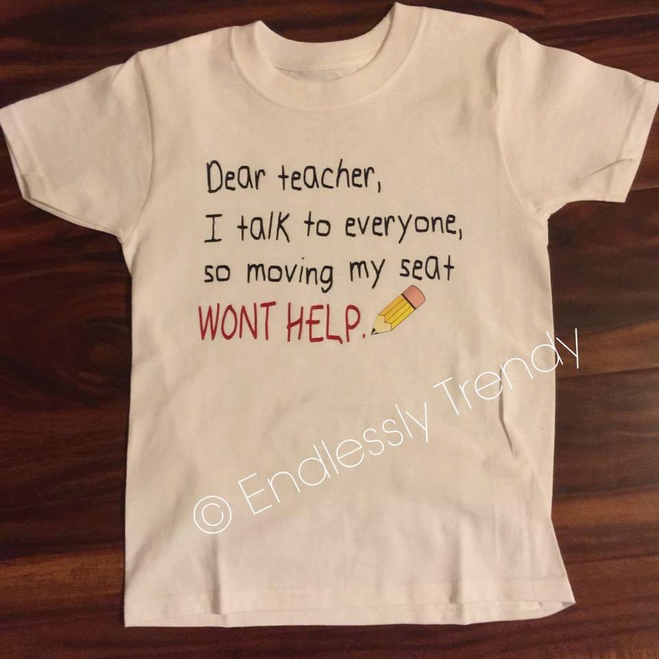Dear Teacher, First Day of School Shirt - - Endlessly Trendy Boutique