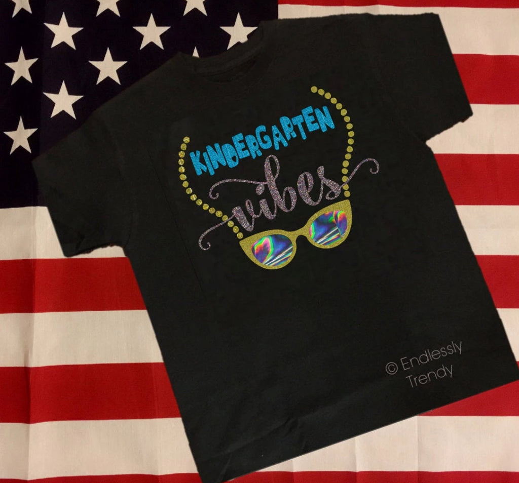 Custom First Day of School Tee - Kindergarten Vibes - - Endlessly Trendy Boutique