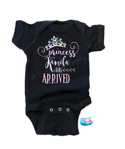 {insert name here} Has Arrived Princess Themed Bodysuit - - Endlessly Trendy Boutique