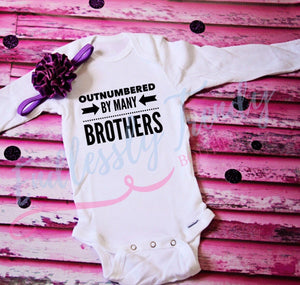 Outnumbered by Many Brothers - Little Sister Tee - - Endlessly Trendy Boutique