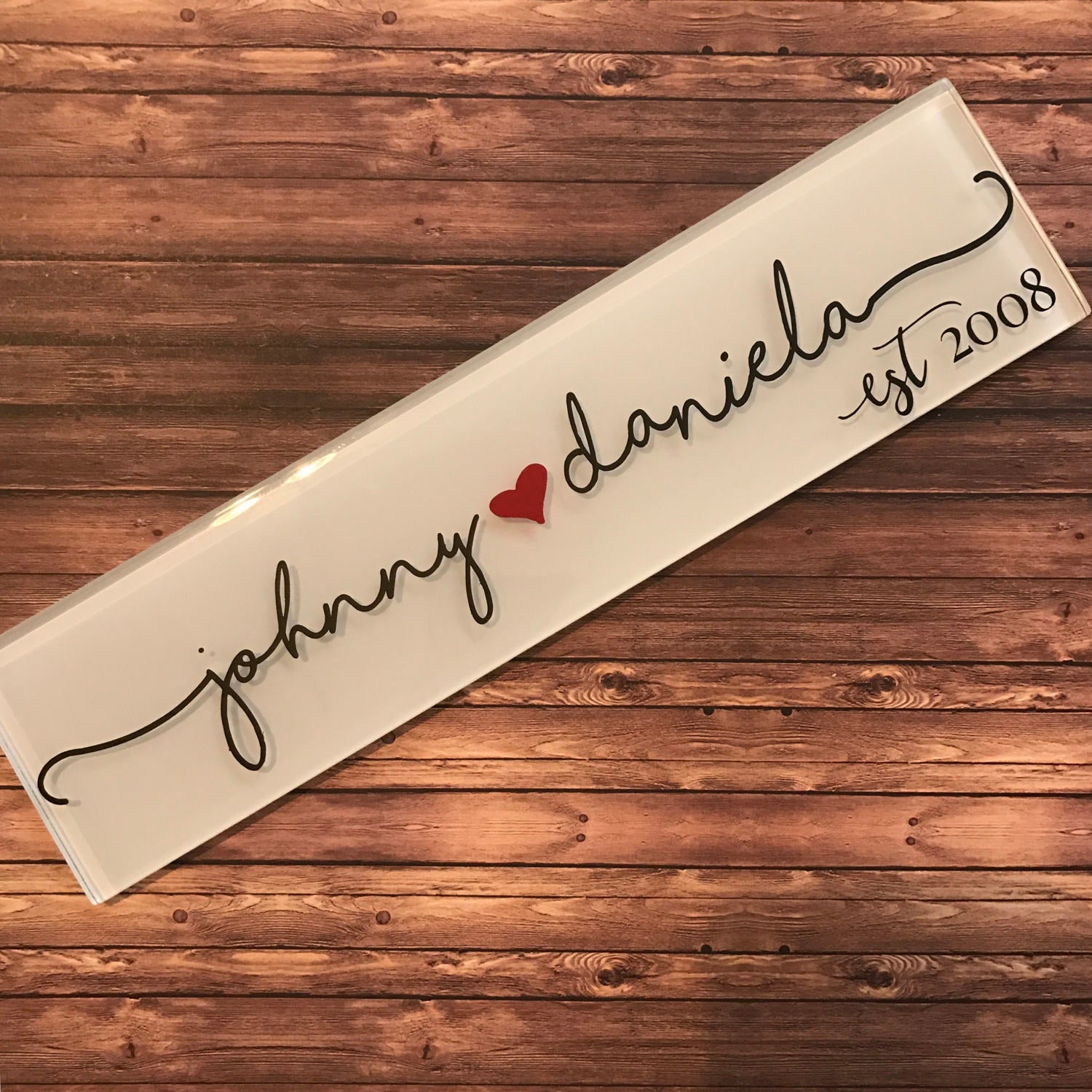 "12"" x 4"" Personalized Custom Clear Glass Tile - - Endlessly Trendy Boutique"