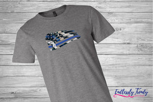 Thin Blue Line Punisher Skull Flag Tee - - Endlessly Trendy Boutique