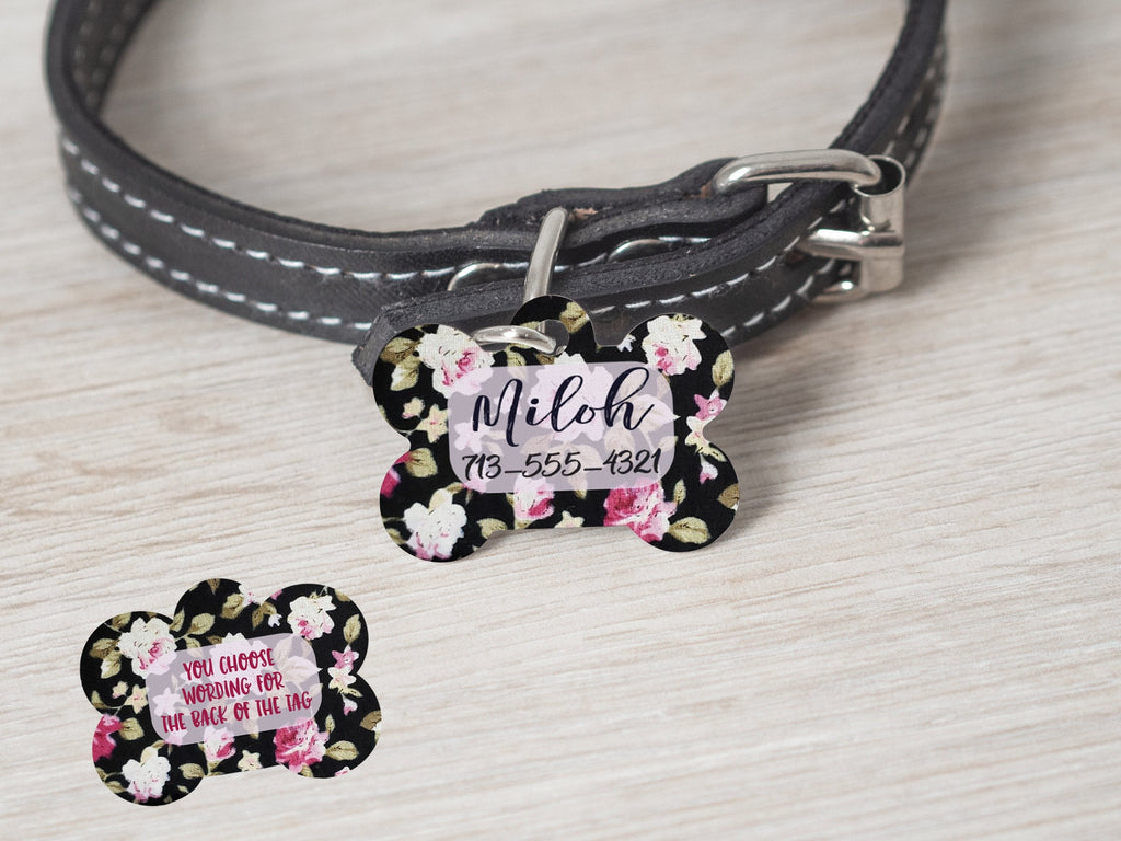 Flower Pattern Customized Dog Tag - - Endlessly Trendy Boutique