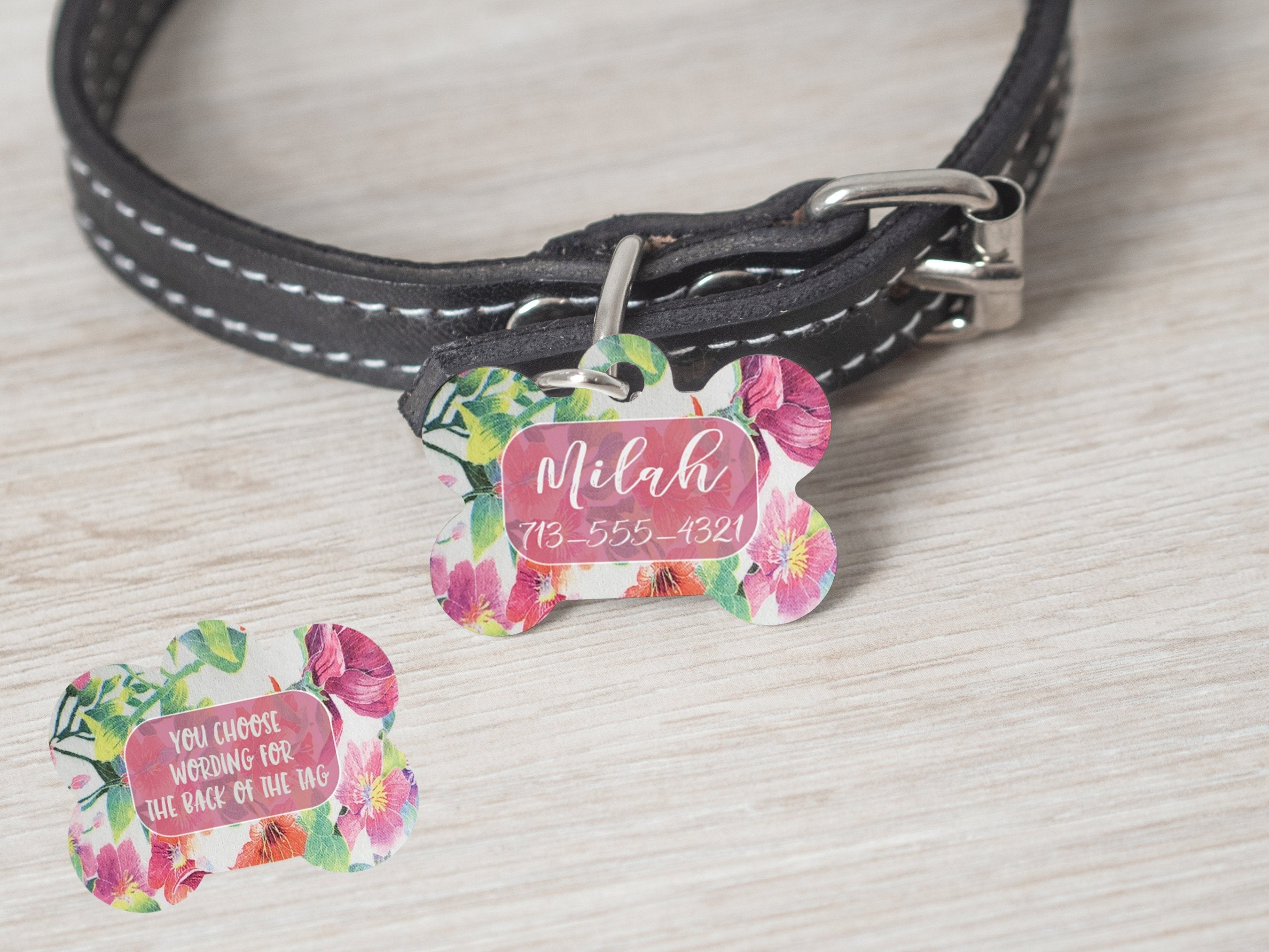 2 Sided Girl Flower Bone Shaped Customized Dog Tag - - Endlessly Trendy Boutique
